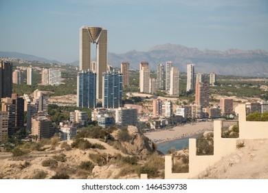 Benidorm, Spain, circa september 2018: Downtown of Benidorm, Spain