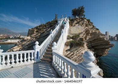 Benidorm, Spain, circa september 2018: Tourists walking to the balcon del Mediterraneo in Benidorm Spain