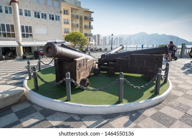 Benidorm, Spain, circa september 2019: Benidorm old Canon at Mirador del Castillo Mediterranean lookout Alicante Spain
