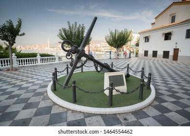 Benidorm, Spain, circa september 2019: Benidorm Anchor at Mirador del Castillo Mediterranean lookout Alicante Spain