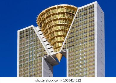 Benidorm, Spain, February 16, 2018: Intempo highest skyscraper building in Benidorm, Spain.