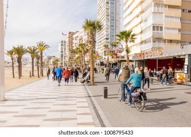 Benidorm, Spain - January 14, 2018: People enjoying holiday in Benidorm, Spain.