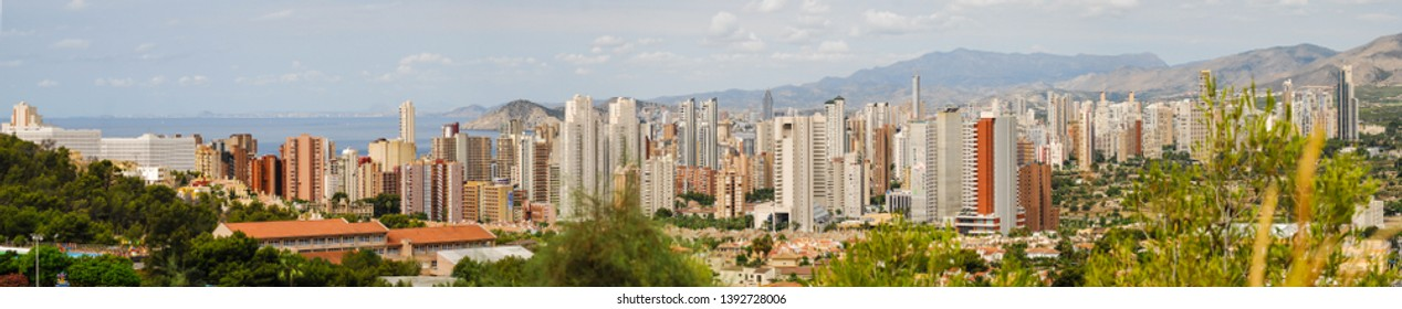Benidorm, Spain - July 24 2012:   Panorama of the many skyscrapers of Benidorm in Spain seen from Animal Park