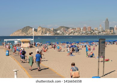 Benidorm, Spain, May 29 2019:queue of people access to accessible beach spain benidorm
