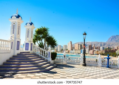 Benidorm, Spain, September 05, 2017. Architecture in the Old Town in Benidorm,View of the city and the sea from Mediterranean Balcony