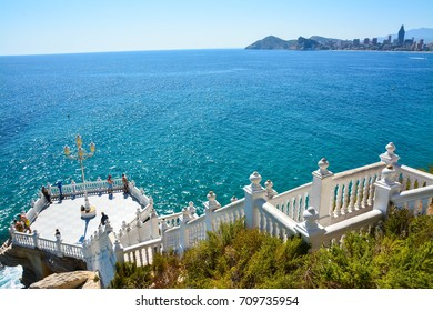 Benidorm, Spain, September 05, 2017. Architecture in the Old Town in Benidorm,View of the sea from Mediterranean Balcon