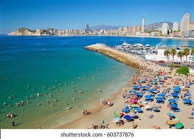 Benidorm, Spain, September 20, 2011. Tourists and Family's enjoying the Sea and  Beach in Benidorm, Alicante, Spain.