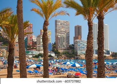Benidorm, Spain, September 24, 2011. Tourists and Family's enjoying the Beach in Benidorm, Alicante, Spain.