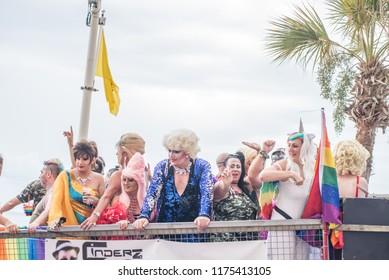 BENIDORM,  SPAIN-SEPTEMBER 8, 2018:  Benidorm 2018 Pride Parade, the highlight of the four day celebration of LGTB pride