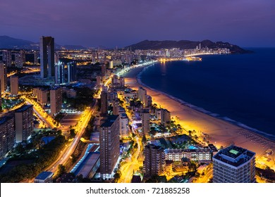BENIDORM,ALICANTE,VALENCIA PROVINCE,SPAIN-SEPTEMBER,03,2017:Benidorm getting dark From the top of Bali Hotel.