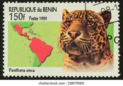 BENIN - CIRCA 1999 : A stamp printed in BENIN shows image of Leopard (Panthera onca) ,1999
