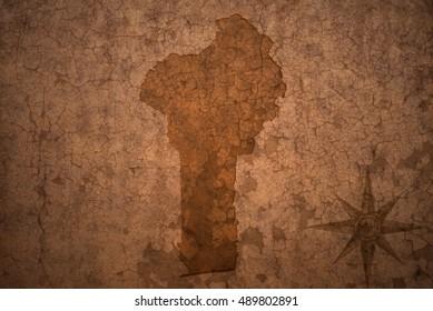 benin map on a old vintage crack paper background
