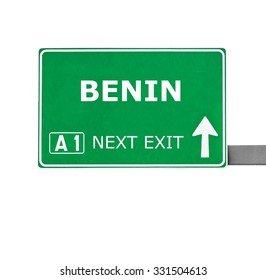 BENIN road sign isolated on white