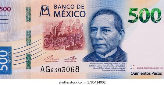 Benito Juarez, 26th President of Mexico, Portrait from Mexico 500 Pesos 2017 Banknotes.