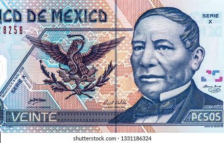 Benito Juarez face portrait on Mexico 20 pesos (2013) banknotes, Mexican money. Close Up UNC Uncirculated - Collection.