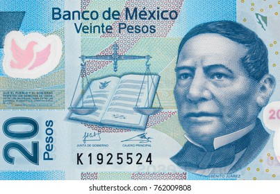 Benito Juarez face portrait on Mexico 20 pesos (2013) banknote closeup macro, Mexican money close up