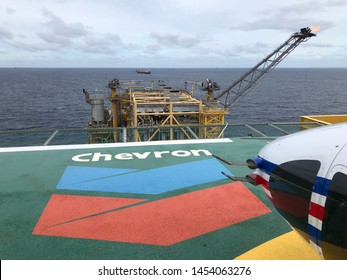 Benjamas Gas field, Gulf of Thailand, Thailand : April 17, 2019 - Chevron Offshore rig platform or Offshore oil and gas Accommodation Platform or Living Quarter and Production plant with a calm sea