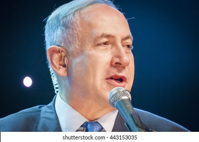 """Benjamin """"Bibi"""" Netanyahu, prime minister of Israel, Israeli politician, giving an address at the Channel 9 TV ceremony """"People of the Year 2016"""". Jerusalem, Israel, June 14, 2016."""