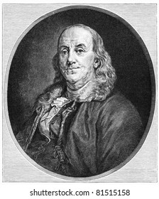 Benjamin Franklin (1706-1790) was one of the Founding Fathers of the United States. Illustration from Harper's Monthly magazine printed in 1883.