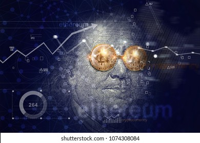 Benjamin franklin with bitcoin glasses on network connection background. Graph growth. Cryptocurrency. Ethereum and traditional money concept.