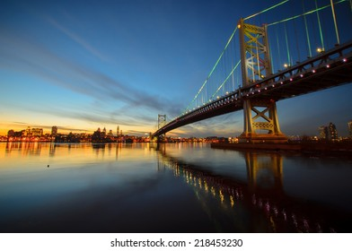 Benjamin Franklin Bridge after sunset from new jersey side.