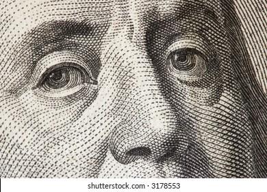 Benjamin Franklin close-up from $100 dollar bill