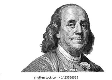 Benjamin Franklin cut on new 100 dollars banknote isolated on white background - Shutterstock ID 1423556585