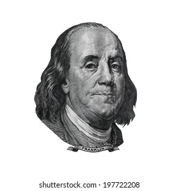 Benjamin Franklin cut out from USA hundred dollars bill. Portrait of american statesman, inventor and diplomat.