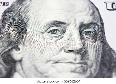 Benjamin Franklin From Dollar Bill, One Hundred Dollars, ColseUp