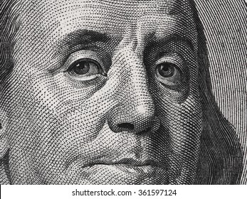 Benjamin Franklin face on us one hundred dollar bill macro, united states money closeup