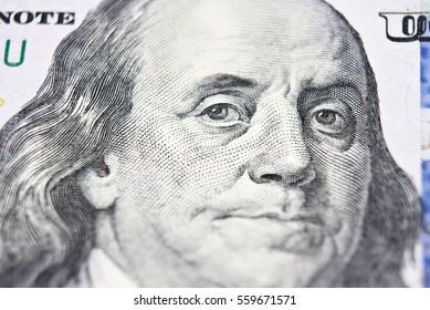 Benjamin Franklin face on us 100 dollar bill extreme macro, united states money closeup