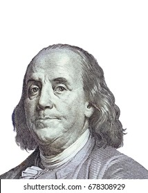 Benjamin Franklin isolated on white background. Symbol of 100 dollars.