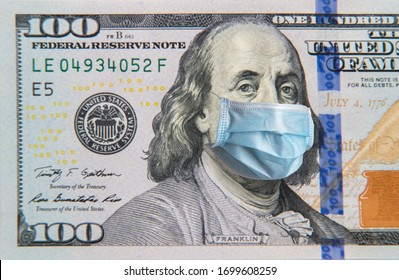 Benjamin Franklin in a mask on a 100 dollar bill isolated on white background. Concept of prevention of money from crisis.