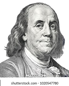 Benjamin Franklin on a dollar bill close-up. Business & Finance