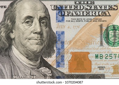 Benjamin Franklin on one hundred dallar bill, Detail of banknote 100 USD with frankin face