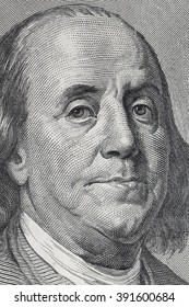 Benjamin Franklin. Qualitative portrait from 100 dollars banknote.