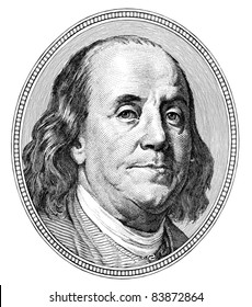 Benjamin Franklin. Qualitative portrait from 100 dollars banknote
