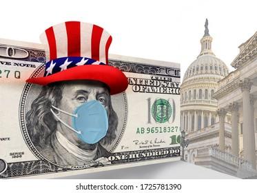 Benjamin Franklin wearing N95 face mask in Washington DC.