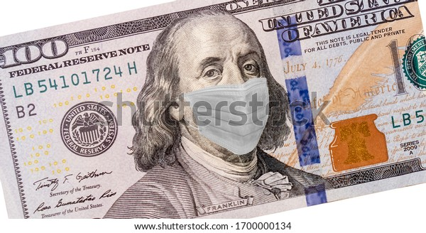 Benjamin Franklin With Worried and Concerned Expression Wearing Medical White  Face Mask On One Hundred Dollar Bill