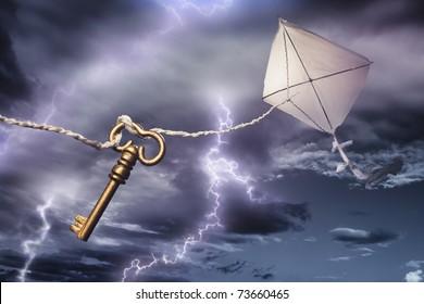 Benjamin's Franklin kite in a dangerous electrical storm