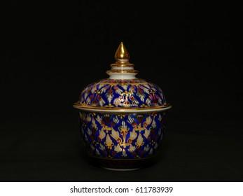 Benjarong, ceramic, porcelain, beautiful from Thailand.