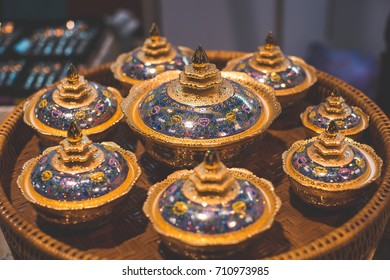 Benjarong is Glassware set of Thailand. golden pattern from thai.