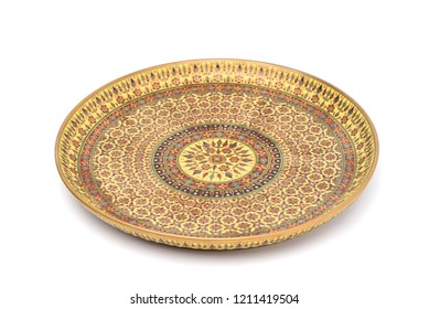 Benjarong porcelain plate or salver, Benjarong ware is a kind of painted Thai ceramics porcelain, Traditional Thai art and handicraft. isolated on white with clipping path.