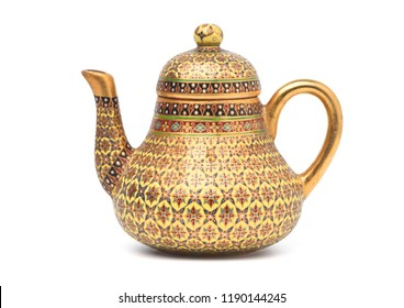 Benjarong porcelain tea pot, Benjarong ware is a kind of painted Thai ceramics porcelain, Traditional Thai art and handicraft. isolated on white with clipping path.
