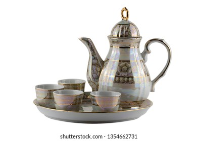 Benjarong porcelain tea set isolated on white background