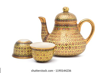 Benjarong porcelain tea set, Benjarong ware is a kind of painted Thai ceramics porcelain, Traditional Thai art and handicraft, isolated on white with clipping path