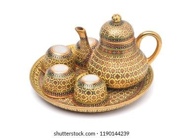 Benjarong porcelain tea set, Benjarong ware is a kind of painted Thai ceramics porcelain, Traditional Thai art and handicraft, isolated on white with clipping path.
