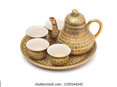 Benjarong porcelain tea set, Benjarong ware is a kind of painted Thai ceramics porcelain, Traditional Thai art and handicraft.