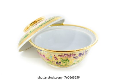Benjarong,Ceramic,Porcelain,Beautiful From Thailand. On A White Background Isolated With Clipping Path. Image For Templates, Placards, Banners, Presentations, Reports, Card And Wallpaper. etc