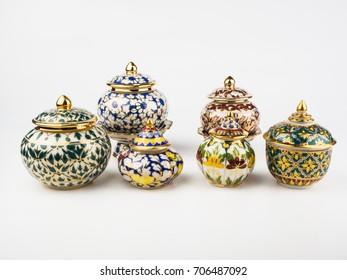 benjarong,porcelain isolated on white background
